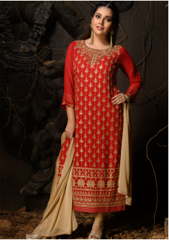 Red Color Designer Viscose Straight Cut Suit